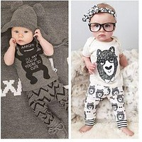 New 2016 summer style infant clothes baby clothing sets boy cotton  little monsters short sleeve 2pcs baby girl clothes