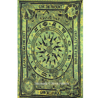 Green Celtic Cycle of Ages Tapestry, Tie Dye Wall Hanging Bedding Bedspread on RoyalFurnish.com