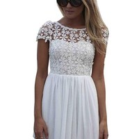 R REIFENG Sexy Summer Backless Dress Lace Splicing Skater Dresses Short Mini Dress