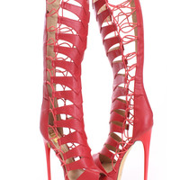 Red Strappy Gladiator High Heels Faux