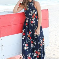 Navy Halter Neck Maxi Dress with Floral Print