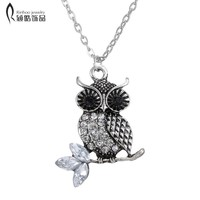 Animal Leaf Crystal Owl Pendant Necklace