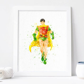 Robin Print, superhero robin batman watercolor Nursery Art Bedroom DC Comics Marvel,  kids Decor Baby Giclee Art Poster Wall Art