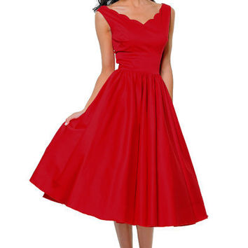QUEEN OF HEARTZ 1950's Style Red Cotton Sateen Scallop Brenda Swing Dress - Unique Vintage - Cocktail, Evening, Pinup Dresses