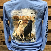 Backwoods Born & Raised Lab Dog Flying Ducks Long Sleeve Bright Unisex T Shirt