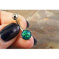Black Opal Belly Button Jewelry Ring Synthetic Green Opal
