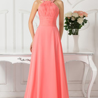 Watermelon Beads Frayed Halter  Chiffon Maxi Evening Dress