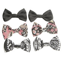 6 On Tribal Print Bow Clips - WetSeal