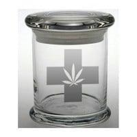 Weed Glass Etched Stash Jar Cannabis Container Medical Marijuana Cross Bong Ganja Hemp Hippy MMJ Colorado California