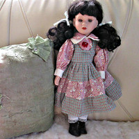 SALE! Stunning Black Hair Porcelain Doll, Long Lashes, Collectible Doll, Vintage Doll