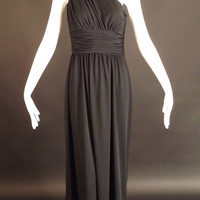 VICTOR COSTA-1970s Black Knit Maxi Dress, Bust-34