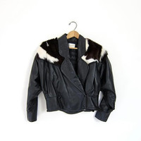 20% Off Sale Vintage Cropped Black Motorcycle Jacket with Fur Leather Bomber Biker Slouchy Punk Coat Women's Medium Small