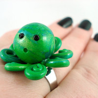 Green Cthulu Baby Octopus Ring by angelyques on Etsy