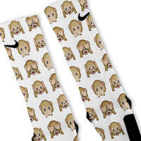 White Monkey Emoji Custom Nike Elite Socks
