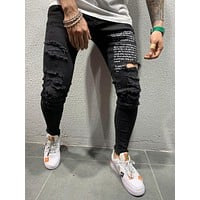 Mens Street Style Ripped And Repaired Jeans 4537