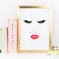 PRINTABLE Art, MAKEUP Face, Makeup Illustration, Lips Print, Gift For Her,Lashes Print,Fashion Print,Girls Room Decor,Bathroom Decor,INSTANT