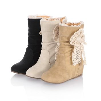 Ribbon Knot Soft Leather Mid Calf Boots Wedge Heel 2947