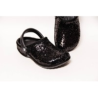 Black Starlight Sequin Clogs
