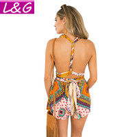 New 2016 Boho Summer Style Women Jumpsuit  Playful Floral Print Elegant Romper Sexy Backless Yellow Playsuit Overalls Mono 80171