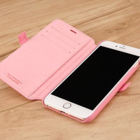 Pink Genuine Leather Wallet Case for Apple iPhone 6 Plus / 6s Plus