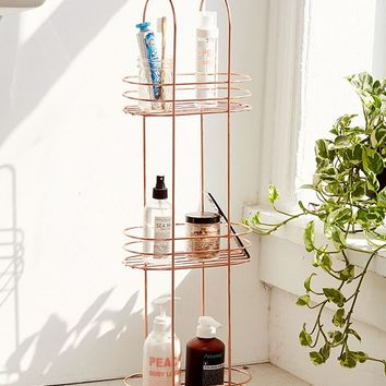 Minimal Rose Gold Standing Bathroom Storage | Urban Outfitters
