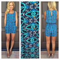 Blue My Mind Print Romper