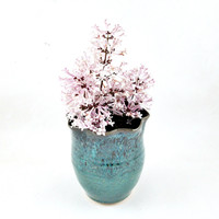 Pottery vase, bud vase, small vase, home decor, teal blue  - In stock