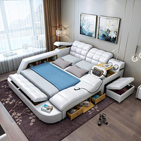Modern Smooth Massager Leather Bed