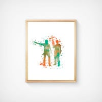 SALE! Walking Dead Daryl Dixon And Rick Grimes Instant Printable download- 8 X 10 Digital Wall Art Ready To Frame - Watercolor detail print