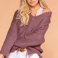 Marnie Lavender Distressed Knit Sweater