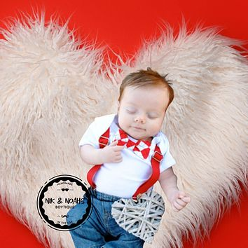 Valentines Day Onesuit Baby Boy with Argyle Bow Tie and Suspenders