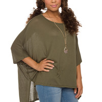 Kayla Oversized Top - Olive