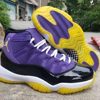 Air Jordan 11 Retro High Black White Purple Men Sneaker - Best Deal Online