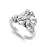 Sterling Silver Plain Polished 2mm Horse Ring