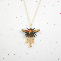 Bee Necklace - Happy Bumble Bee with filigree brass and agate gemstone beads on 18k gold plated fine chain.