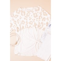 Animal Print Front Tie Top, Oatmeal/Cream