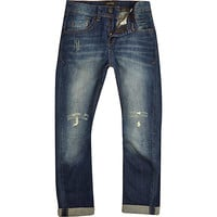 River Island Boys dark blue mid wash ripped Chester jeans