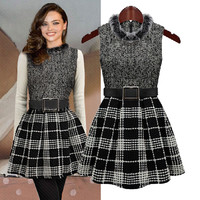 Plaid Fur-Neck Sleeveless Dress