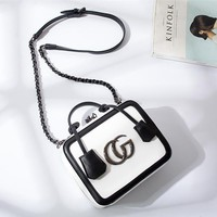 Women Fashion Multicolor Letter Metal Chain Single Shoulder Messenger Bag Handbag