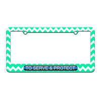 To Serve And Protect - Thin Blue Line Police - License Plate Tag Frame - Teal Chevrons Design