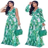 Green Floral Maxi Dress with Waisted Belt - Plus Size