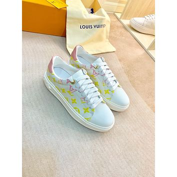 2021 LV Louis Vuitton Women Leather low Top Sneakers Shoes WHITE YELLOW