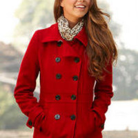 Wool Double Breasted Coat With Thinsulate™