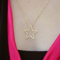 Gold Star Necklace - Charm Necklace - Tiny Necklace - Delicate Necklace - Gold Star Pendant - Gold Jewelry - Gold Necklace - Gift Under 20