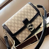 Hipgirls GUCCI New fashion more letter print leather chain shoulder bag crossbody bag Black
