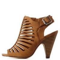 Tan Strappy Cut-Out Slingback Heels by Charlotte Russe