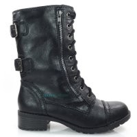 Soda Dome Mid Calf Height Women's Military / Combat Boots, Black, 8.5
