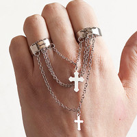 Silver Chain Cross Two 2 Finger Ring Double Adjustable