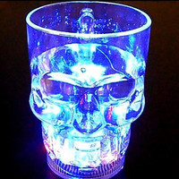 Creative 24hr Flash Light Up Cups Flashing Luminescent Glass Beer Mug Induction Skull Halloween LED Cup Party Drink