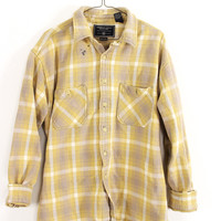 Faded Pale Yellow, Tan, and White Plaid Sunwashed Flannel Shirt Size XL - Cuff N Roll